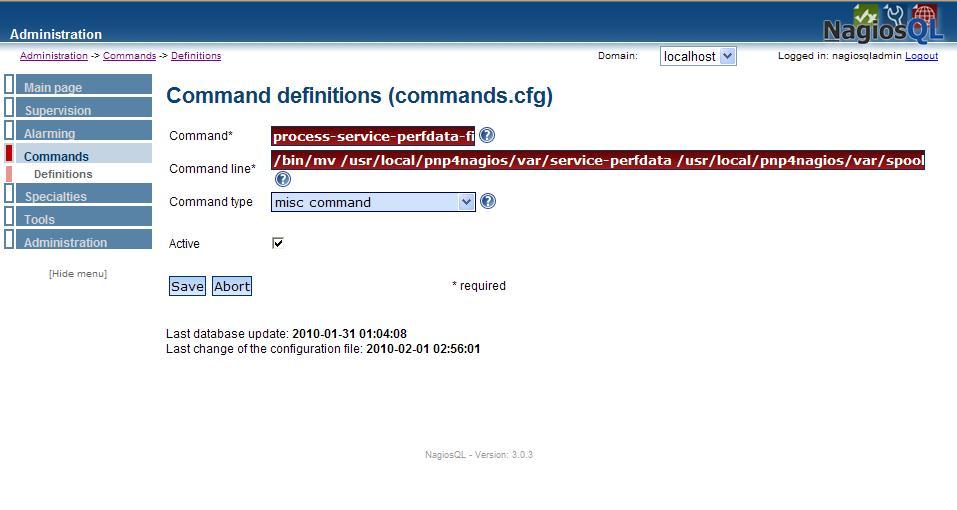 図1:NagiosQL3によるcommands.cfgへの設定追加(1)