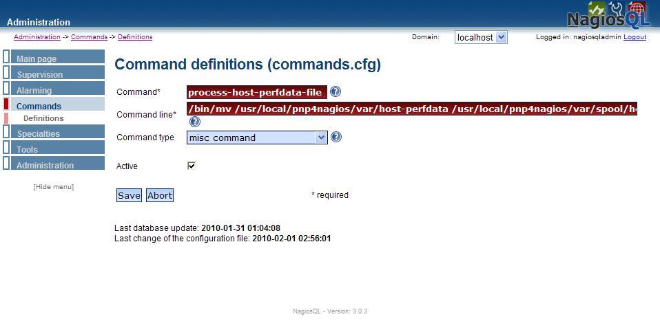 図2:NagiosQL3によるcommands.cfgへの設定追加(2)