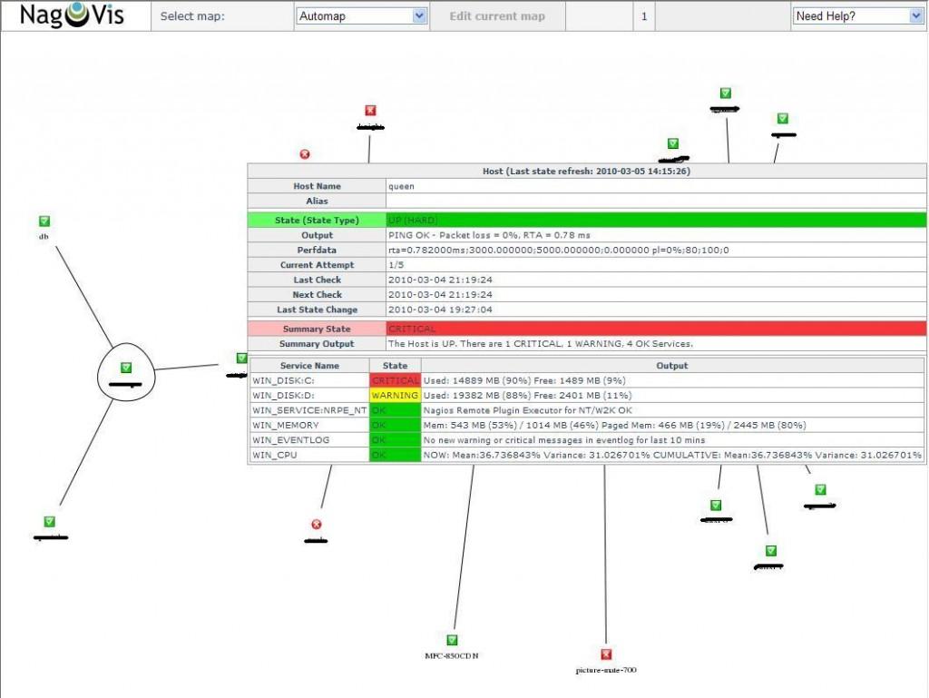 図5:Automapのステータスウィンドウ
