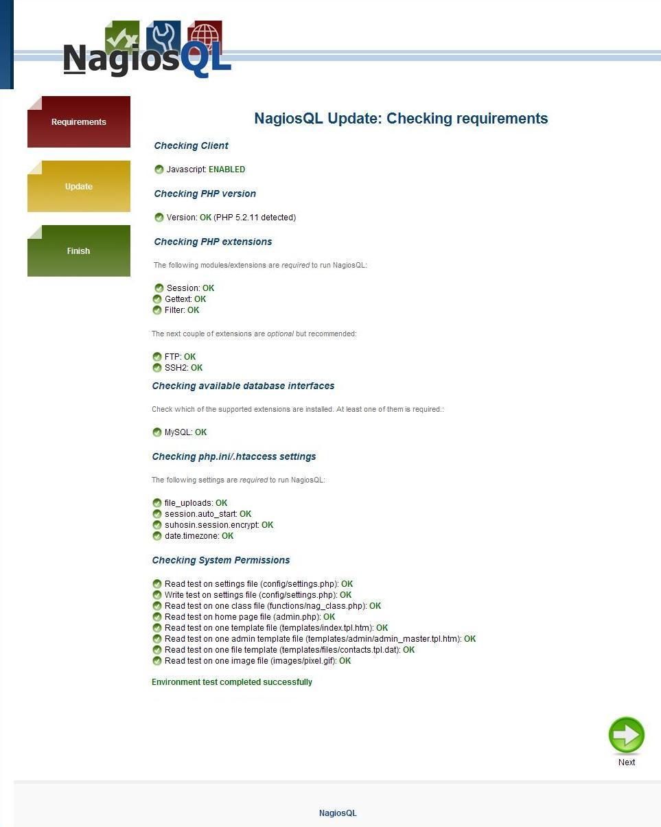 図3:NagiosQL(3.2.0)へのアップデート画面3
