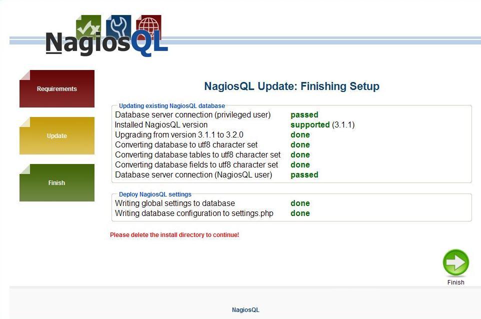 図5:NagiosQL(3.2.0)へのアップデート画面5
